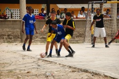 Eleventh grade boys play soccer at Institución Educativa de Santa Ana.