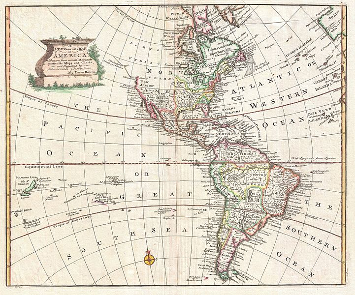Map of North and South America, 1747.