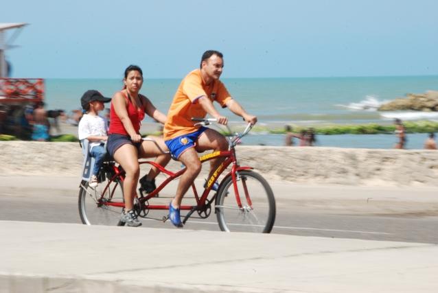 A bicycle on Avenue Santander in Cartagena, Colombia.