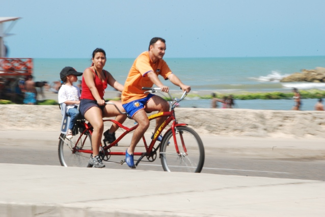 A bicycle on Avenue Santander in Cartagena, Colombia.