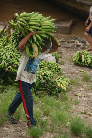 Man carrying plantains at the Amazon River port in Leticia, Colombia