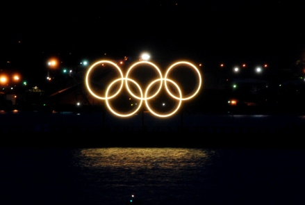 Olympic rings lit up at Winter Games in Vancouver, 2010