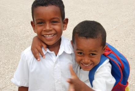 Young students near Cartagena, Colombia