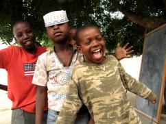 Children kid around in Dar es Salaam.