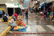 Rainy market in Huaraz, Peru.