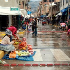Rainy market in Huaraz, Peru.