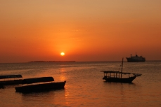 Sunset over the Indian Ocean from Stone Town, Zanzibar.