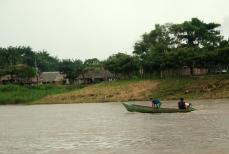 Boat on the Amazon River, Peru.