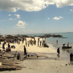 The busy beach near the fish market in Dar es Salaam, on the Indian Ocean.
