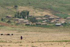 A lone Maasai man walks in the plains near his village outside of Arusha, northern Tanzania.
