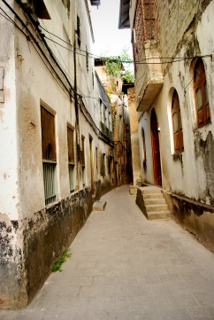 One of the narrow streets in Stone Town, Zanzibar.