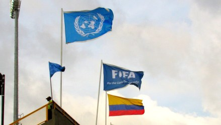 United Nations, FIFA , and Colombian Flags