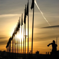 Sunset outside the Viking Ship Olympic Hall in Hamar, speedskating venue for 1994 Lillehammer Olympics.
