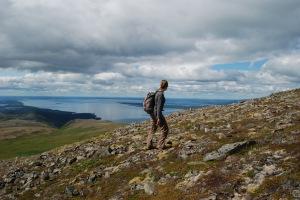 Hiker on Dumpling Mountain, Katmai National Park.