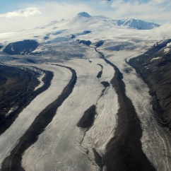 Glacier flowing off Mt. Wrangell, Wrangell-St. Elias National Park.