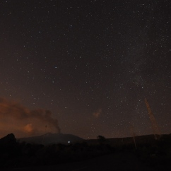 Erupting Mt. Etna at a starry night sky with Milky Way, Sicily