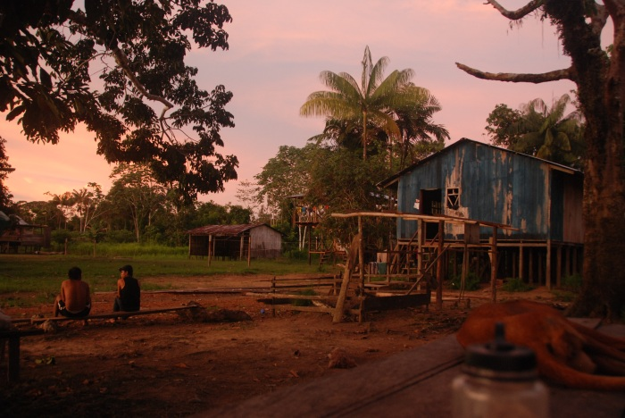 Village of Santa Clarita, Colombia at sunset.