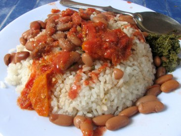 "Rice, beans, tomatoe sauce, and mchicha in Tanzania, from ""Be Careful What You Eat"""