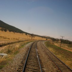 "Crossing train tracks near Harden, Australia, from ""Don't Get Delayed"""