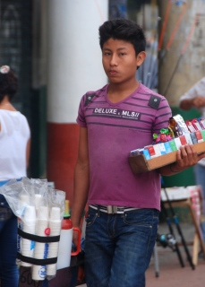 """Coffee vendor selling tinto in Cartagena, Colombia, from """"Drink Colombian Coffee"""""""