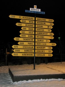 """Signpost in Narvik, Norway, from """"Head South for the Winter"""""""
