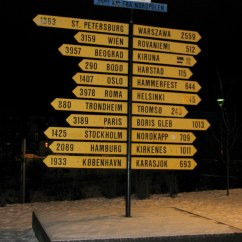 "Signpost in Narvik, Norway, from ""Head South for the Winter"""