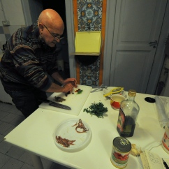 "Guiseppe making pasta alla puttanesca from ""You Have to Go to Venice"""