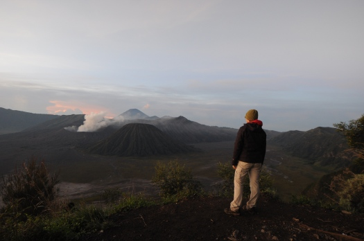 Admiring the volcanic landscape at Bromo-Tengger-Semeru National Park, Java, Indonesia