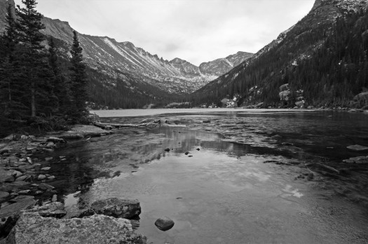 An icy Mills Lake in October, Rocky Mountain National Park, Colorado, USA