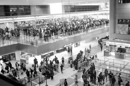 Airport security lines at Los Angeles International Airport, California, USA