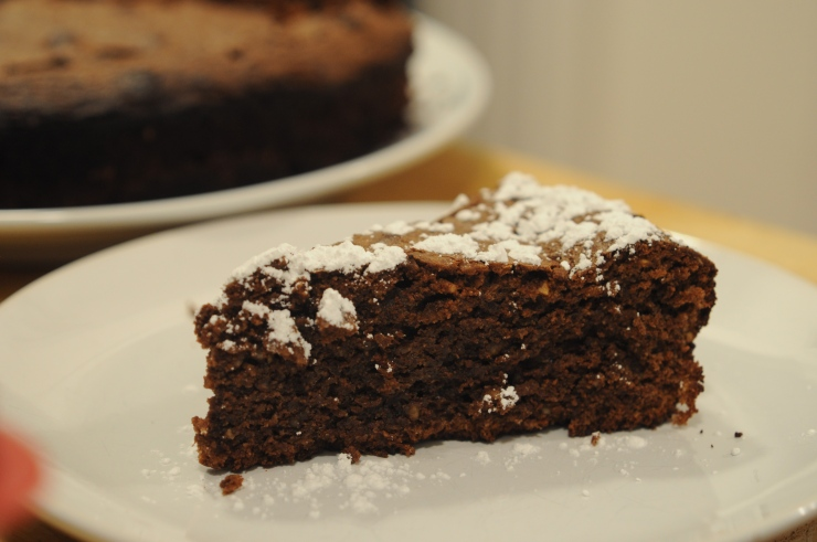 A piece of chocolate-hazelnut cake (torta gianduia)