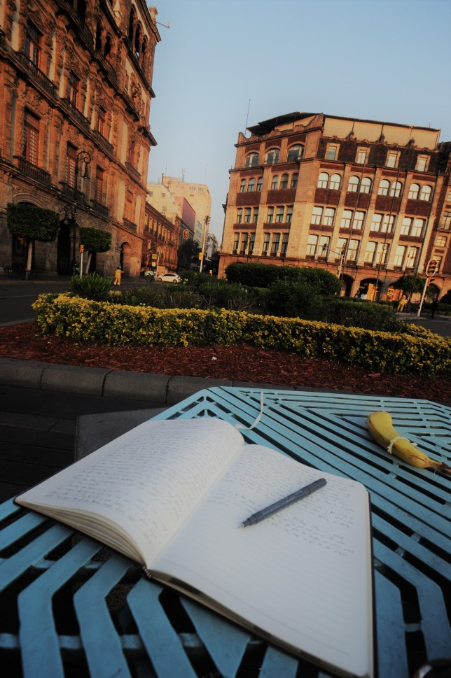 An open travel journal in Mexico City.