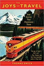 The Joys of Travel book cover feturing a retro image of a train