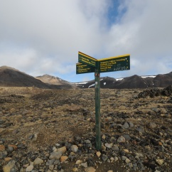Signpost along Tongariro Crossing section of Tongaririo Northern Circuit Trail, Tongariro National Park