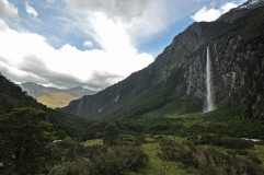 Waterfall near Rob Roy Glacier, Mt. Aspiring National Park.
